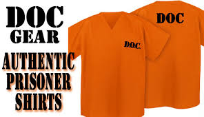Convict Halloween Costumes Orange Prison Uniform Shirt Prisoner Halloween Costume