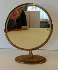 Gold Vanity Mirror Elegant Antique Brass Tri Fold Standing Gold Frame Vanity Mirror