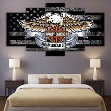 Black And White American Flag Harley Davidson Bar And Shield With Eagle And Black And White