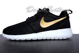 rosh run nike roshe run one black with custom gold swoosh paint