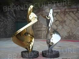 stainless steel home decor two artistic stainless steel sculpture for indoor decoration