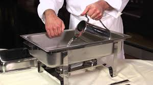 how to set a buffet table with chafing dishes setting up a chafing dish for buffet service youtube