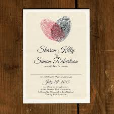 wedding invites fingerprint heart wedding invitation and save the date by feel