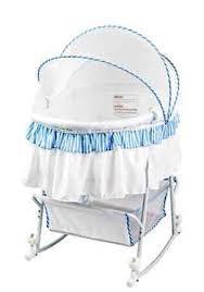 baby rocking cradle bassinet blue white infant bed portable
