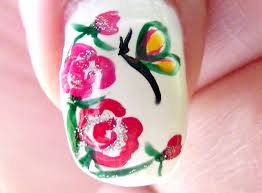 cute butterfly and flower nail art design tutorial youtube