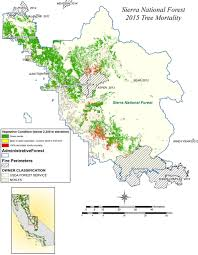Sierra Nevada Mountains Map Nasa Maps Drought Hazards In The Sierra From Tree Die Off Valley