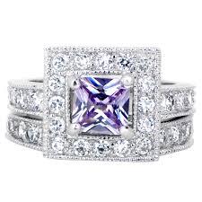 Purple Wedding Rings by Princess Cut Purple Cz Wedding Ring Set