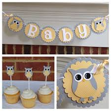 baby shower banner ideas owl baby shower banner or name yellow gray by tealeavesandtwine