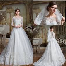 lace 3 4 sleeve wedding dress wedding dresses ideas rhinestones belt shoulder half sleeves