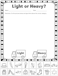 free heavy and light sorting activity pre k k ideas