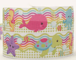 whale ribbon 7 8 whale octopus sealife crab print grosgrain ribbon from