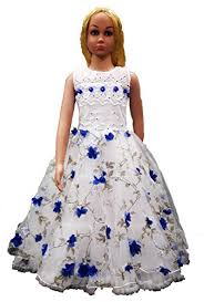 princess cut dress with roses below the neckline for 2 to 13 years