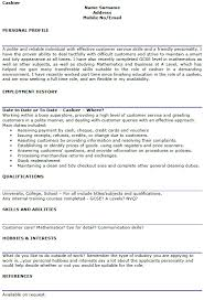 Resume Sles For Cashier Cashier Skills Resume Resumess Franklinfire Co