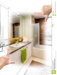 custom bathroom design female hands framing custom bathroom design stock illustration