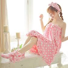 pink women spa bath shower wrap sleepwear terry robe set
