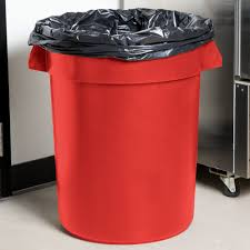 Tall Trash Can by Continental 3200rd Huskee 32 Gallon Red Trash Can