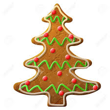 gingerbread christmas tree decorated colored icing holiday cookie