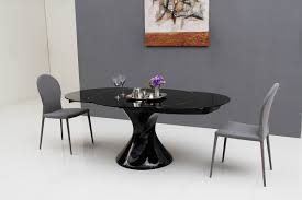 Modern Extendable Dining Table Furniture Cool Solid Black Glass Top Extendable Dining Table With