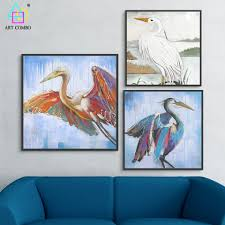 frameless chinese traditional canvas painting animal birds wall