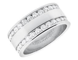 mens 14k white gold wedding bands mens 14k white gold diamond edge 7mm wedding band ring 1 55