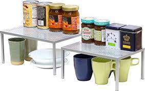 Kitchen Countertop Shelf Amazon Com Simplehouseware Expandable Stackable Kitchen Cabinet