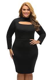 wholesale black long sleeve keyhole bodycon plus size dress