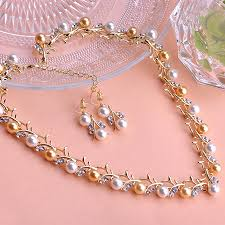 gold pearl necklace sets images Trendy indian jewelry set wedding accessories gold silver brincos jpg