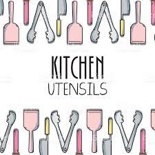 kitchen utensils background decoration design stock vector art