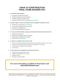 osha 10 construction final test answer key