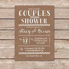 couples shower couples shower invitation kraft paper background rustic