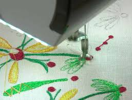 thread painting with machine embroidery