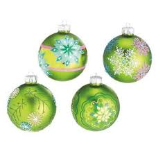 midwest set of 4 dazzling green snowflake design glass