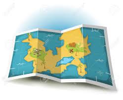 Treasure Island Map Illustration Of A Cartoon Treasure Island And Map Icon Royalty