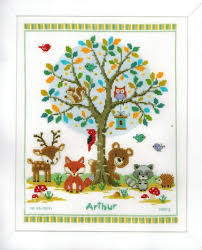 vervaco in the woods birth record cross stitch kit 149396