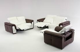 furniture finest modern leather recliner with ottoman in beige