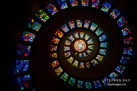 photo spiral stained glass in the thanksgiving square chapel