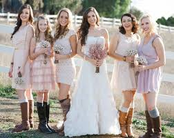 casual country style bridesmaids dresses with cowboy boots
