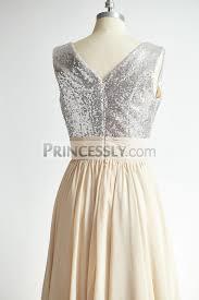 silver sequin bridesmaid dresses v neck silver sequin chagne chiffon bridesmaid dress