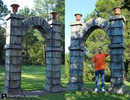 Decorations Halloween Cemetery Props carved foam cemetery gates arches theme park prop tom spina