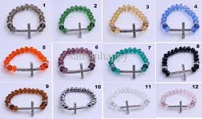 cross beads bracelet images 2018 sideways cross charm bracelet rhinestone cross with faceted jpg