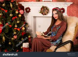 At Home Christmas Decorations by Portrait Amazing New Year Christmas Stock Photo 528744877