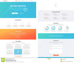one page flat website design template concept stock vector image
