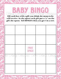 printable pink damask baby shower bingo game bee busy designs