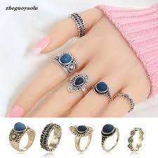 girls stone rings images 5pcs set vintage bohemian synthetic big stone retro silver color jpg