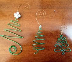 everyday wire and bead ornaments to hang on the tree or