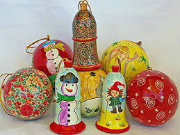 retro style christmas theme and ornaments