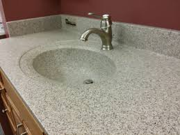 solid surface custom bathroom countertops in grey stone like color