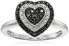 diamond heart ring sterling silver 1 10cttw black diamond heart ring