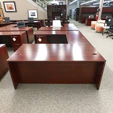 u shaped executive desk used teknion left u shaped executive desk mahogany deu1497 006