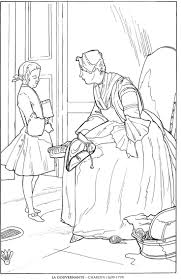 la gouvernante chardin famous paintings coloring pages coloring